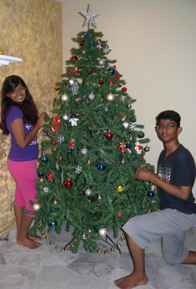 Ashrya and Joshua obliging me with a pose around the Christmas tree