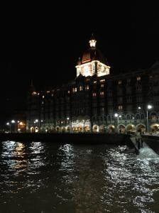 The Taj Hotel at night on Marine Drive