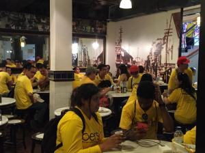 Bersih4 yellow shirts enjoying themselves at a food outlet in Central Market.